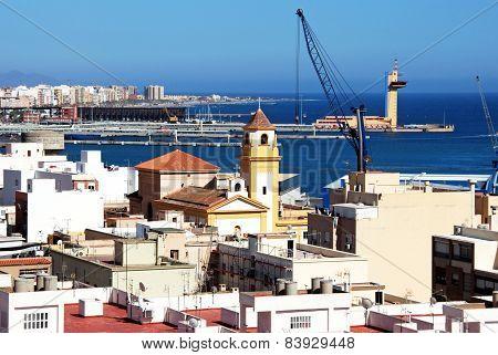 Almeria port and church.