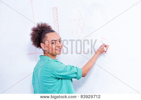 Young creative woman at brainstorming