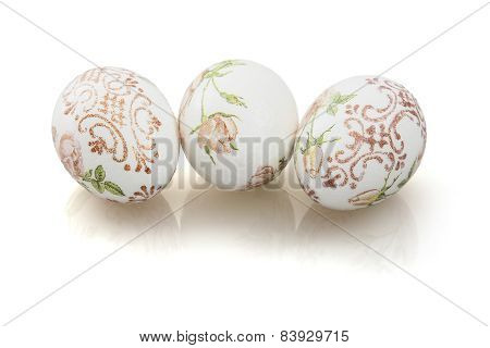Three Beautiful Easter Eggs With Reflection