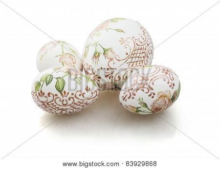 Decorated Easter Eggs On The White Background
