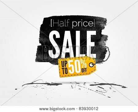 Sale watercolor banner with splashes