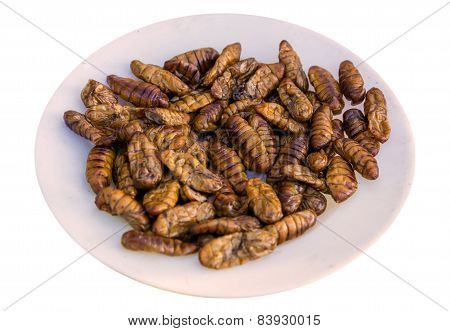 Fried Silk Worm Is The Food Of The Natives