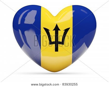 Heart Shaped Icon With Flag Of Barbados