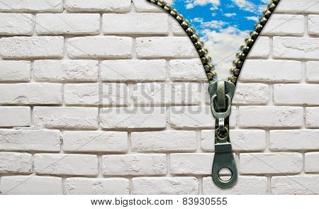 Opened Zipper From Wall To The Sky Business Concept