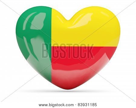 Heart Shaped Icon With Flag Of Benin