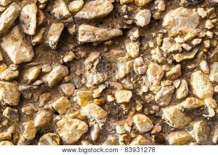 Gravel Wall In Closeup