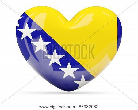 Heart Shaped Icon With Flag Of Bosnia And Herzegovina