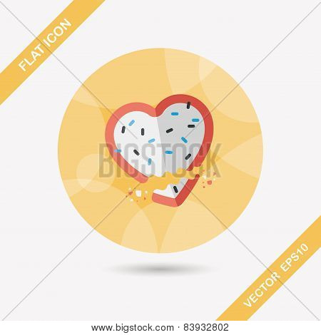 Valentine's Day Cookie Flat Icon With Long Shadow,eps10