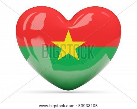 Heart Shaped Icon With Flag Of Burkina Faso