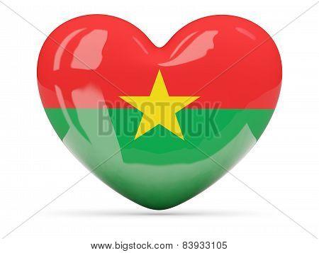 Heart Shaped Icon With Flag Of Burkina Faso
