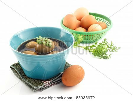 Thai Cuisine - Eggs And Chicken In Brown Sauce