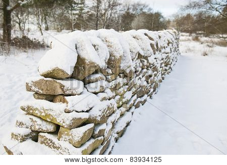 Snow Covered Wall In Winter