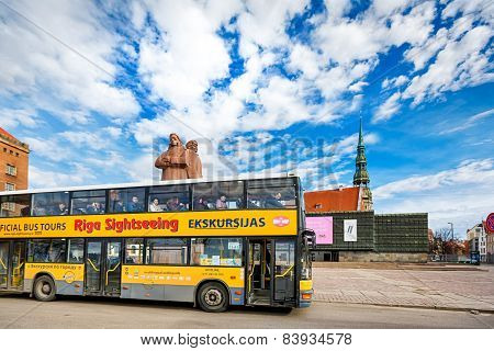 Yellow City Sightseeing Bus In Riga, Latvia