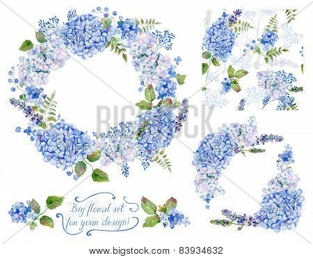 Set Of Different  Blue, Cyan  Hydrangea, Lavender, Currant, Frame, Decorative Corners And One Seamle
