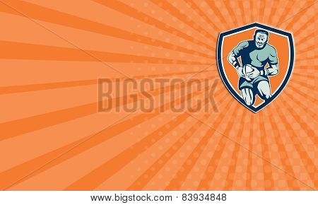 Business Card Rugby Player Running Attacking Shield Retro