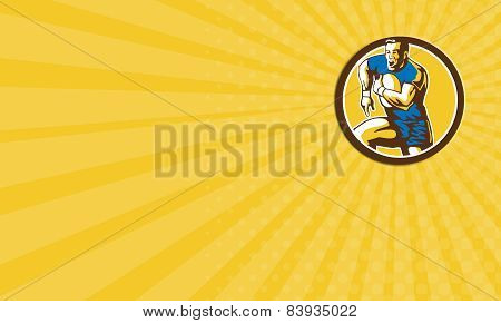 Business Card Rugby Player Running Goose Steps Circle Retro