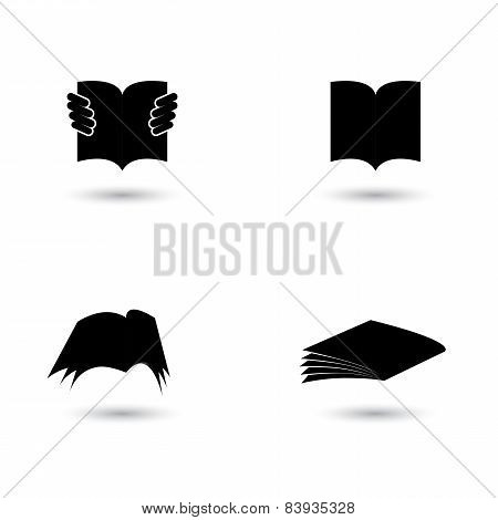 Set Of Book Icons Silhouettes - Vector Graphic