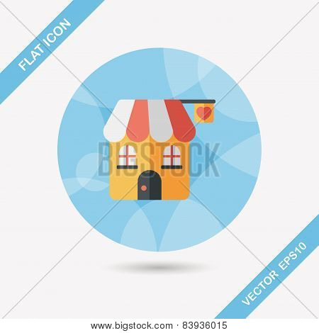 Valentine's Day Love House Flat Icon With Long Shadow,eps10