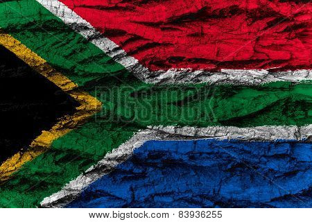 South Africa National Flag Painted Wooden Bark Tree