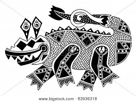 black and white authentic original decorative drawing of crocodi
