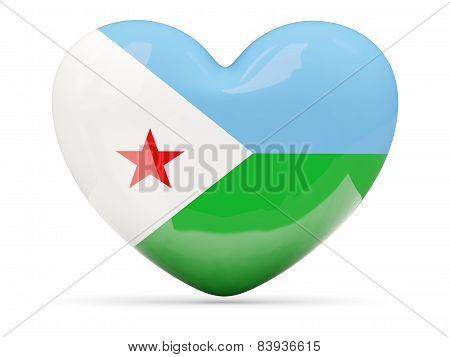 Heart Shaped Icon With Flag Of Djibouti