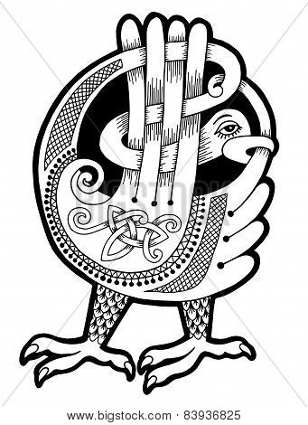 black and white authentic celtic bird