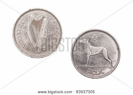 Sixpence coin from Ireland 1928