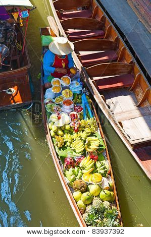 Floating Market In Damnoen Saduak Near Bangkok