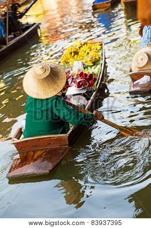 Traditional Floating Market In Damnoen Saduak