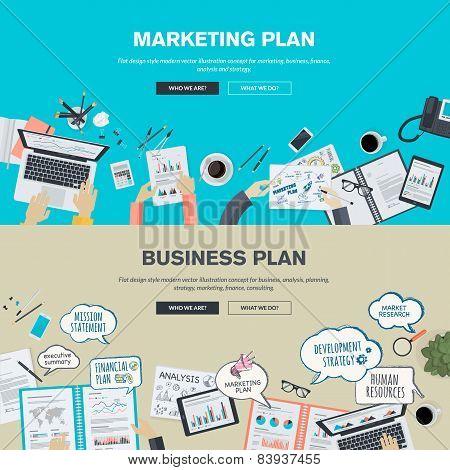 Set of flat design illustration concepts for business plan and marketing plan