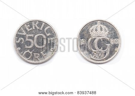 Swedish fifty Ore coin.