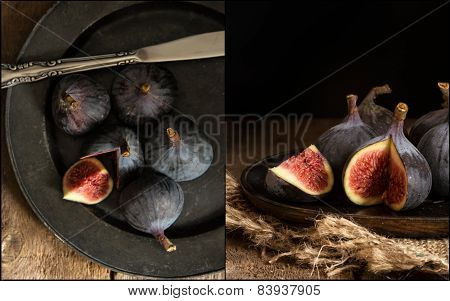Compilation Of Images Of Fresh Figs In Moody Vintage Retro Style Moody Natural Lighting Set Up