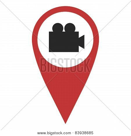 Red Geo Pin With Video Camera