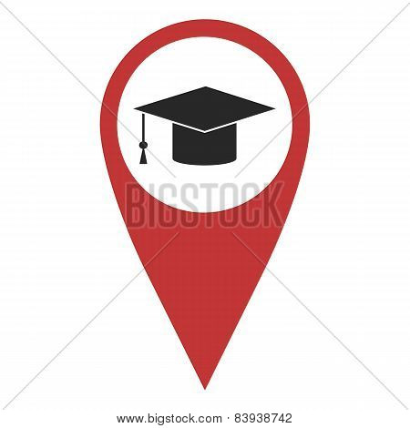 Red Geo Pin With Graduation Hat