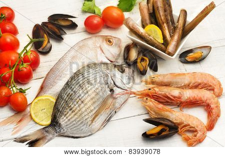 Selection Of Fish , Mollusk And Crustaceans
