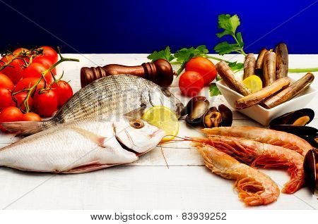 Raw Fish Selection With Vegetables