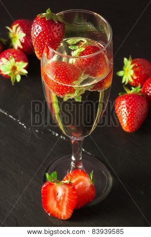 Champagne Glass With Strawberry