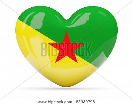 Heart Shaped Icon With Flag Of French Guiana