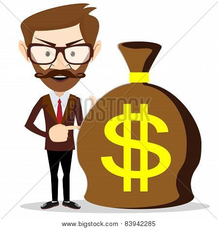 Businessman with a huge bag full of money, vector illustration