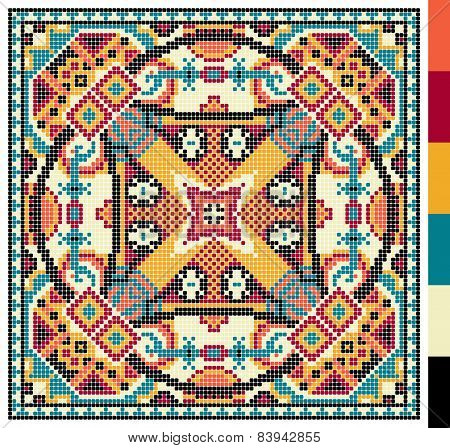 geometric square pattern for cross stitch ukrainian traditional