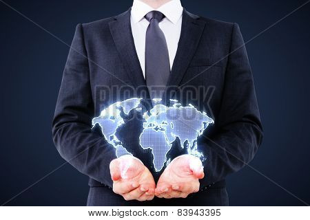 Businessman Holding Digital World Map