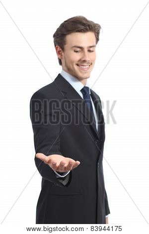 Happy Businessman Holding Something Or A Blank Product