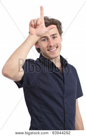 Man Making Loser Gesture With His Hand