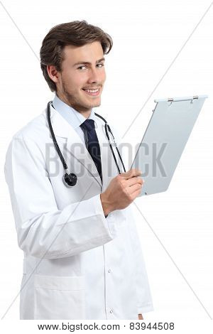 Young Happy Doctor Man Holding A Medical History