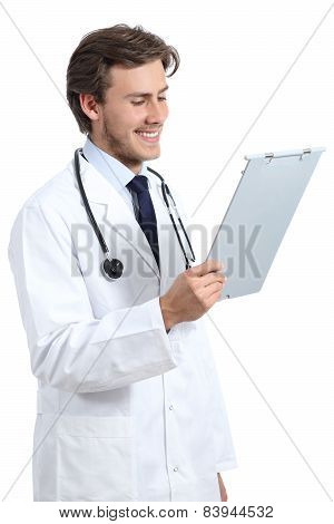 Young Happy Doctor Man Reading A Medical History
