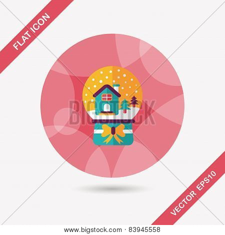 Snow Globe And Gifts Flat Icon With Long Shadow,eps 10