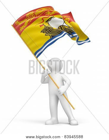 Man and flag of New Brunswick (clipping path included)