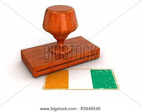 Rubber Stamp Cote d'ivoire flag (clipping path included)