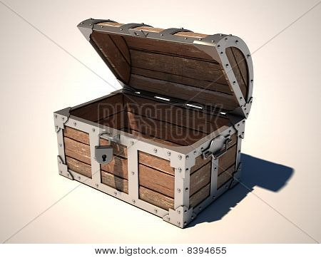 open empty treasure chest