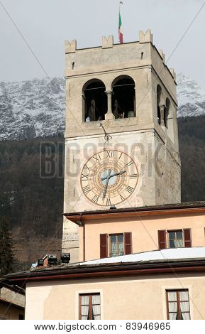 Clock Tower In Bormio, Italy